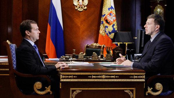 Встреча президента РФ Дмитрия Медведева с Александром Коноваловым