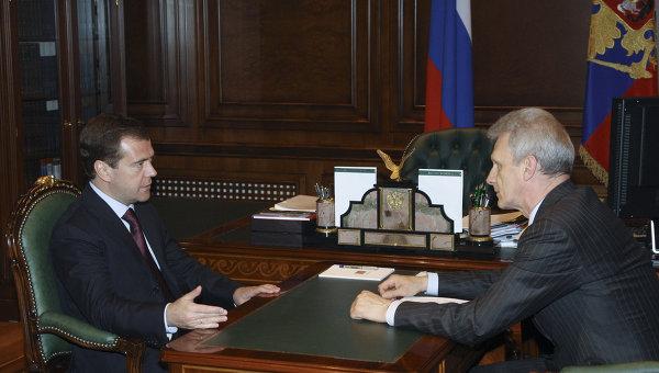 Встреча президента РФ Дмитрия Медведева с министром образования и науки РФ Андреем Фурсенко